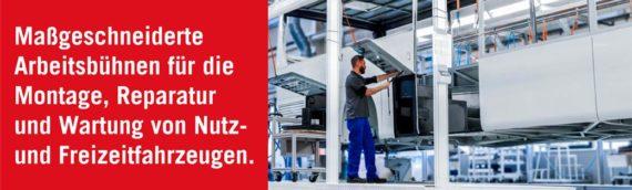 Maßgeschneiderte Arbeitsbühnen für Reparatur und Wartung von Fahrzeugen.